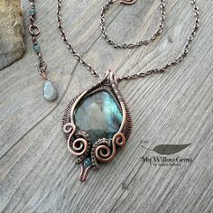 Wire Wrapped Labradorite Necklace - Asrai of the Sacred Water Pool - Stunning…