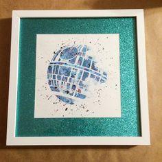 Items similar to Death Star Pre- Framed Art on Etsy Framed Art, Custom Art, Vintage, Stars