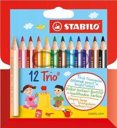 STABILO Trio dick 12er Kunststoffetui kurz - Dreikant-Buntstift