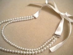 Ribbon and Pearl Necklace Tutorial | My Girlish Whims