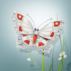 Van Cleef & Arpels Genre Papillon Pavonia clip - white gold, diamonds, sapphires, coral, white mother-of-pearl. #VCAspring #HighJewelry Discover more Flying Beauties creations: http://goo.gl/QiOYoO