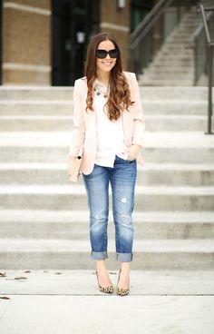 boyfriend jeans with pastel pink blazer