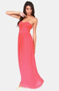 Exclusive Slow Dance Strapless Coral Maxi Dress | Coral maxi ...