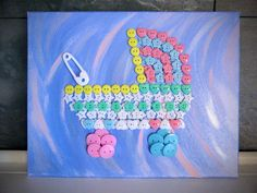 It's a Girl! It's a Boy! Button Art Baby Carriage Stroller on Wrapped Canvas Mixed Media 11x14