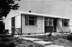 'Arcon' type 'prefab' house produced for the Ministry of Works, Prefab Buildings, Prefabricated Houses, Prefab Homes, Old Buildings, Abandoned Buildings, Dallas Tv Show, Black And White Aesthetic, Old London, Tiny House Design