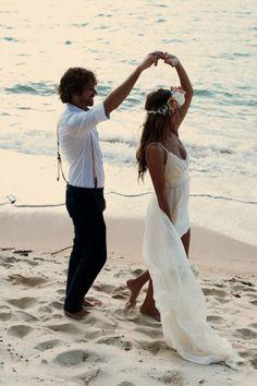mariage, plage, robe,