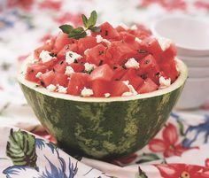 Minty watermelon and feta salad in a watermelon bowl. Get the recipe: http://recipes.womenshealthmag.com/Recipe/minty-watermelon-salad-with-feta-cheese.aspx