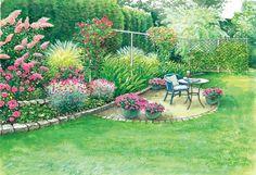 Die rosarot gehaltenen Blüten kreieren eine romantische Atmosphäre am Sitzplatz