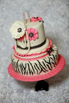 Zebra Vintage cake - by Chrissa's Cakes Vintage Birthday Cakes, Adult Birthday Cakes, Birthday Cakes For Women, Birthday Cookies, 8th Birthday, Birthday Ideas, Pretty Cakes, Cute Cakes, Beautiful Cakes