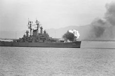 August 27,1972...The United States heavy cruiser 'USS Newport News (CA-148)' shell's communist positions near the North Vietnamese port of Haiphong