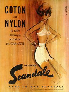 Affiche Mode Scandale Coton et Nylon - France - 1958 - illustration de R. Blonde