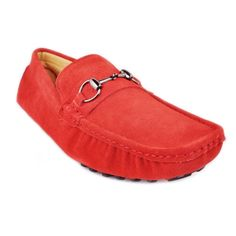 100% authentic e9e91 16d8b RED suede Leather mens slip on loafer driving car shoes