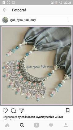 This Pin was discovered by Ber Diy Jewelry, Handmade Jewelry, Jewelry Making, Hijab Style Tutorial, Palestinian Embroidery, Lavender Bags, Needle Lace, Jewelry Patterns, Embroidery Applique