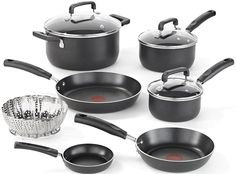 T-fal C111SA Nonstick Dishwasher and Oven Safe Thermo Spot Cookware Set, 10-Piece, Black ** Be sure to check out this awesome product.