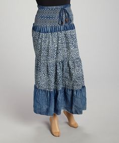 Take a look at this Blue Shirred Denim Skirt - Plus by Miss Maxi on #zulily today!