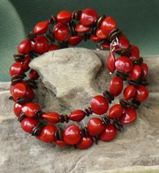 Leucaena and Red Bead Seed Bracelet Cuff, all size 21b