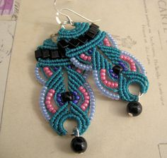 Colorful Beaded Macrame Earrings in Teal and Black. $19.99, via Etsy.