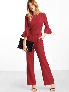 21307bbe8e2 Online shopping for Red Ruffle Cuff Belted Jumpsuit from a great selection  of women s fashion clothing   more at MakeMeChic.