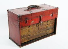 Machinists Tool Chest Old Red Paint @ OhioPicker via Etsy
