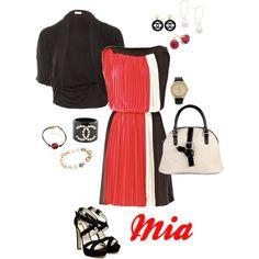 Vionnet dress, Hoss Intropia shrug, Miss Sixty handbag, Rupert Sanderson platform sandals, Betsey Johnson watch & your choice of bracelets and earrings