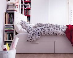 ikea brimnes bed frame with drawers and headboard with shelves love the look but