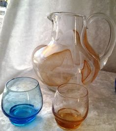 VIntage Hand blown Glass Jug and Hand blown Etched Shot Glasses - Boho Style