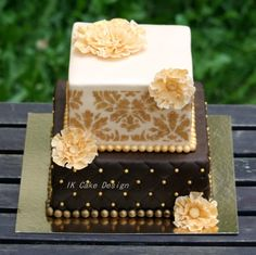 Brown Ivory Damask Birthday Cake