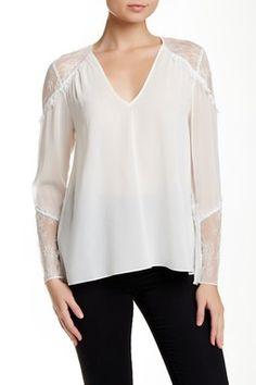 Lace Shoulder V-Neck Tunic Blouse
