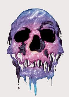 * Illustration Kittozutto * #Skulls #Purple #Pink