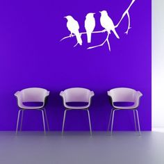 3 Bird Silhouettes on a Branch - Vinyl Wall Art Decal