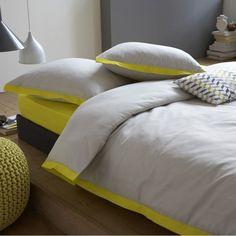 Parure housse de couette + taie + drap-housse, EPURE gris/jaune, La Redoute