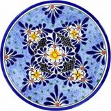 country style talavera plate black blue