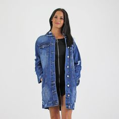 PinkCad Mid Blue Denim Ripped Faded Wash Longer Length Jacket Available Instore And Online www.pinkcadillac.co.uk