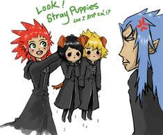 """just as Isa onece said """"what's with you and picking up stray puppies? Kingdom Hearts Funny, Kingdom Hearts Fanart, Kindom Hearts, Cartoon Games, Picture Credit, Disney Magic, My Best Friend, Fantasy Art, Sketches"""