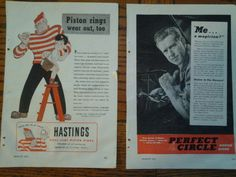 Mouse over image to zoom    Have one to sell? Sell it yourself  3 Vintage Piston Rings Print Ads 1949-1947 Perfect Circle, Sealed Power,Hastings