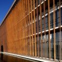 Solar fins:  exterior skin by Hunter Douglas. Architects: GH+A   Guillermo Hevia  Location: Pudahuel, Santiago, Chile