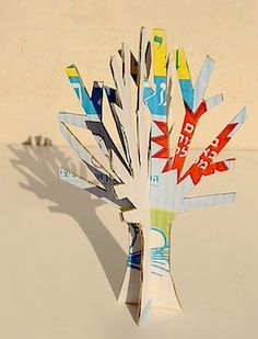 Winter Tree Craft from Recycled Cardboard