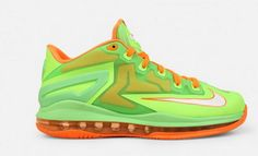 Fresh new Lebron 11 Low Grade School (Electric Green/Orange) color way, the perfect addition to your wardrobe. Green And Orange, Orange Color, Lebron 11, Kids Sneakers, Electric, Footwear, Fresh, School, Shoe