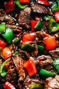 Pepper Steak Stir Fry has melt in your mouth flank steak with bell pepper in the. - Pepper Steak Stir Fry has melt in your mouth flank steak with bell pepper in the most amazing sauce - Healthy Diet Recipes, Healthy Meal Prep, Cooking Recipes, Delicious Recipes, Cooking Tips, Tasty, Healthy Food, Cooking Beef, Healthy Stir Fry