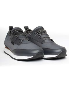 These grey Sara sneakers from Woden have soft neoprene uppers with grey leather panels to the toe cap, heel trim and lace surround. High Top Sneakers, Sneakers Nike, Off Duty, Grey Leather, Trainers, Air Jordans, Footwear, Heels, Casual