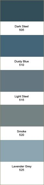 Kleurstrook 505-525 505 Dark Steel 510 Dusty Blue 515 Light Steel 520 Smoke 525 Lavender Grey
