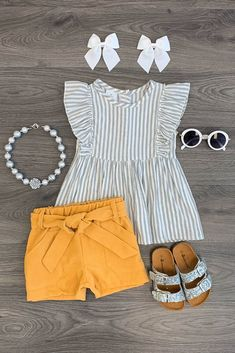 Stripe Mustard Corduroy Short Set The Effective Pictures We Offer You About toddler girl outfits diy Toddler Girl Style, Toddler Girl Outfits, Toddler Fashion, Baby Outfits, Kids Fashion, Toddler Girls, Latest Fashion, Toddler Hair, Baby Style