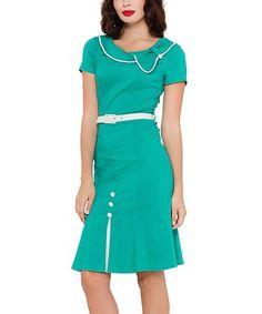 Look what I found on #zulily! Green & White Button-Accent Belted Sheath Dress #zulilyfinds