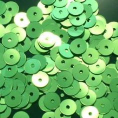 6mm Metallic Lime Green Flat Round Sequins.