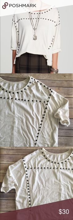 Free People Dillon studded sweatshirt Free People Dillon white studded loose fit sweatshirt. Good condition. Measures about 50 inches around the bust and is about 22 inches long. Free People Sweaters Crew & Scoop Necks