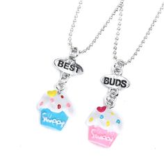 2017 Mom And Kids BFF Jewelry 2Pcs/ Set Best Friends Charms Sweet Ice Cream Of Cup Pendant Chain Necklace Birthday Gift