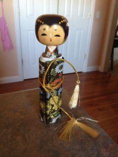 Japanese Wooden Scroll Doll Message Doll Sayonara Kokeshi Doll Souvenir   eBay