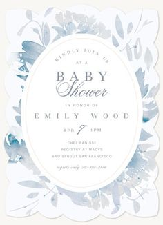 Baby Shower Invites - Select printing options and begin customizing your card for design 55503 Photo Invitations, Baby Shower Invitations, Vintage Plates, Your Cards, Bloom, Baby Showers, Prints, Inspire, Inspiration