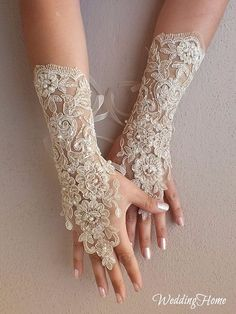 champagne Wedding gloves free ship bridal lace fingerless french lace arm warmers mittens cuff gauntlets fingerloop, Long lace glove on Etsy, Wedding Gloves, Lace Gloves, Fingerless Gloves, Pearl And Lace, Bridal Lace, Berta Bridal, Bridal Gowns, French Lace, Free French