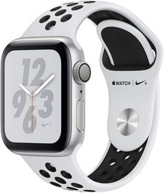 APPLE Watch Series 4 Cellular - Silver with Pure Platinum and Black Nike Sports Band, 40 mm, Silver Built-in SIMStay connected even without your phone. The Apple Watch Series 4 Cellular has an electronic SIM built-in so you can make and receive calls Apple Watch Silver, Buy Apple Watch, Apple Watch Nike, Apple Watch Series 3, Smartwatch, Wi Fi, Nike Watch, Bluetooth, Sport Armband